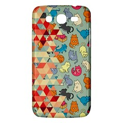 Hipster Triangles And Funny Cats Cut Pattern Samsung Galaxy Mega 5 8 I9152 Hardshell Case  by EDDArt