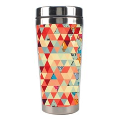 Hipster Triangles And Funny Cats Cut Pattern Stainless Steel Travel Tumblers by EDDArt