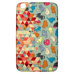 Hipster Triangles And Funny Cats Cut Pattern Samsung Galaxy Tab 3 (8 ) T3100 Hardshell Case  by EDDArt