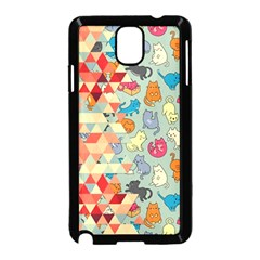 Hipster Triangles And Funny Cats Cut Pattern Samsung Galaxy Note 3 Neo Hardshell Case (black) by EDDArt