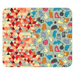 Hipster Triangles And Funny Cats Cut Pattern Double Sided Flano Blanket (small)  by EDDArt