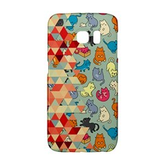 Hipster Triangles And Funny Cats Cut Pattern Samsung Galaxy S6 Edge Hardshell Case by EDDArt