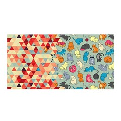 Hipster Triangles And Funny Cats Cut Pattern Satin Wrap by EDDArt