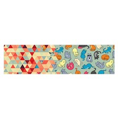 Hipster Triangles And Funny Cats Cut Pattern Satin Scarf (oblong) by EDDArt