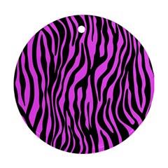 Zebra Stripes Pattern Trend Colors Black Pink Ornament (round)