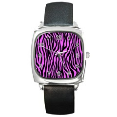 Zebra Stripes Pattern Trend Colors Black Pink Square Metal Watch