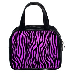 Zebra Stripes Pattern Trend Colors Black Pink Classic Handbags (2 Sides) by EDDArt