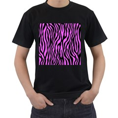 Zebra Stripes Pattern Trend Colors Black Pink Men s T Shirt (black)
