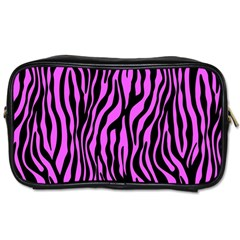 Zebra Stripes Pattern Trend Colors Black Pink Toiletries Bags 2 Side by EDDArt