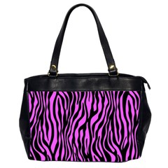 Zebra Stripes Pattern Trend Colors Black Pink Office Handbags (2 Sides)  by EDDArt