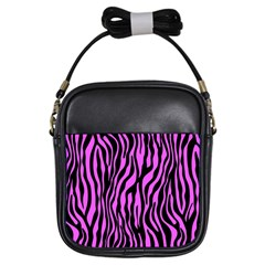 Zebra Stripes Pattern Trend Colors Black Pink Girls Sling Bags by EDDArt