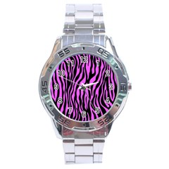 Zebra Stripes Pattern Trend Colors Black Pink Stainless Steel Analogue Watch
