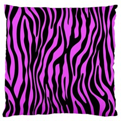 Zebra Stripes Pattern Trend Colors Black Pink Large Cushion Case (one Side) by EDDArt