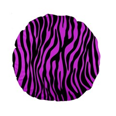 Zebra Stripes Pattern Trend Colors Black Pink Standard 15  Premium Round Cushions by EDDArt