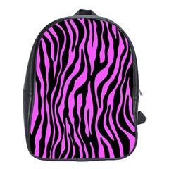 Zebra Stripes Pattern Trend Colors Black Pink School Bag (xl) by EDDArt