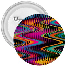Multicolored Wave Distortion Zigzag Chevrons 3  Buttons by EDDArt