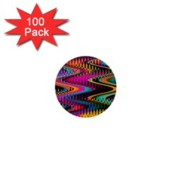 Multicolored Wave Distortion Zigzag Chevrons 1  Mini Buttons (100 Pack)