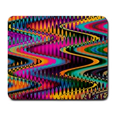 Multicolored Wave Distortion Zigzag Chevrons Large Mousepads by EDDArt