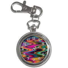 Multicolored Wave Distortion Zigzag Chevrons Key Chain Watches