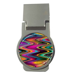 Multicolored Wave Distortion Zigzag Chevrons Money Clips (round)  by EDDArt
