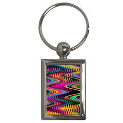 Multicolored Wave Distortion Zigzag Chevrons Key Chains (rectangle)