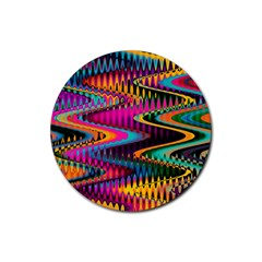 Multicolored Wave Distortion Zigzag Chevrons Rubber Round Coaster (4 Pack)