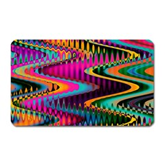 Multicolored Wave Distortion Zigzag Chevrons Magnet (rectangular) by EDDArt