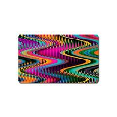 Multicolored Wave Distortion Zigzag Chevrons Magnet (name Card) by EDDArt