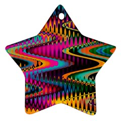 Multicolored Wave Distortion Zigzag Chevrons Star Ornament (two Sides) by EDDArt
