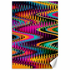 Multicolored Wave Distortion Zigzag Chevrons Canvas 12  X 18
