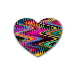 Multicolored Wave Distortion Zigzag Chevrons Heart Coaster (4 Pack)