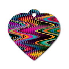 Multicolored Wave Distortion Zigzag Chevrons Dog Tag Heart (two Sides) by EDDArt