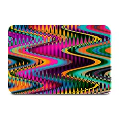 Multicolored Wave Distortion Zigzag Chevrons Plate Mats by EDDArt