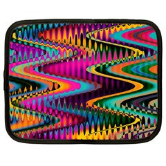 Multicolored Wave Distortion Zigzag Chevrons Netbook Case (large)