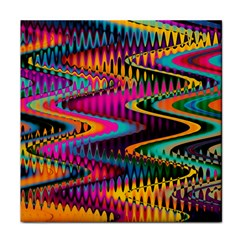 Multicolored Wave Distortion Zigzag Chevrons Face Towel by EDDArt