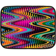 Multicolored Wave Distortion Zigzag Chevrons Double Sided Fleece Blanket (mini)  by EDDArt