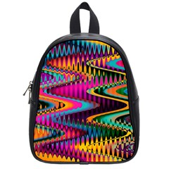 Multicolored Wave Distortion Zigzag Chevrons School Bag (small) by EDDArt