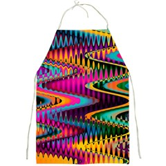 Multicolored Wave Distortion Zigzag Chevrons Full Print Aprons by EDDArt