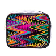 Multicolored Wave Distortion Zigzag Chevrons Mini Toiletries Bags by EDDArt
