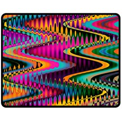 Multicolored Wave Distortion Zigzag Chevrons Fleece Blanket (medium)  by EDDArt