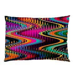 Multicolored Wave Distortion Zigzag Chevrons Pillow Case (two Sides) by EDDArt