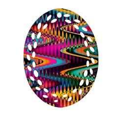 Multicolored Wave Distortion Zigzag Chevrons Ornament (oval Filigree) by EDDArt