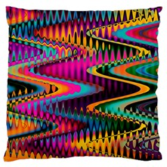 Multicolored Wave Distortion Zigzag Chevrons Large Cushion Case (one Side) by EDDArt