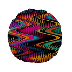 Multicolored Wave Distortion Zigzag Chevrons Standard 15  Premium Round Cushions by EDDArt