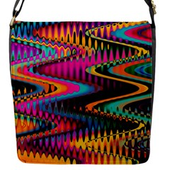 Multicolored Wave Distortion Zigzag Chevrons Flap Messenger Bag (s) by EDDArt