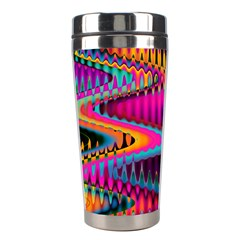 Multicolored Wave Distortion Zigzag Chevrons Stainless Steel Travel Tumblers by EDDArt