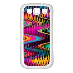 Multicolored Wave Distortion Zigzag Chevrons Samsung Galaxy S3 Back Case (white) by EDDArt