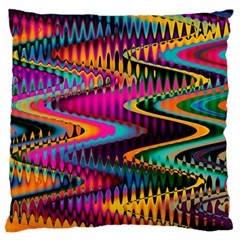 Multicolored Wave Distortion Zigzag Chevrons Standard Flano Cushion Case (two Sides) by EDDArt