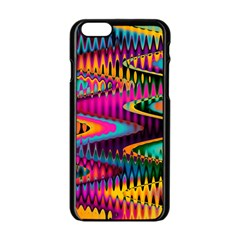 Multicolored Wave Distortion Zigzag Chevrons Apple Iphone 6/6s Black Enamel Case by EDDArt