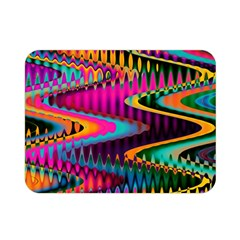 Multicolored Wave Distortion Zigzag Chevrons Double Sided Flano Blanket (mini)  by EDDArt